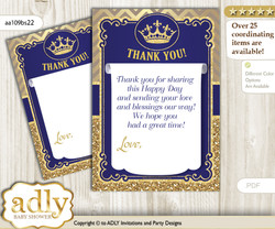 Royal  Prince Thank you Cards for a Baby Royal Shower or Birthday DIY Blue Gold, Crown nn