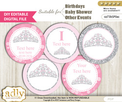 DIY Text Editable Princess Tiara Cupcake Toppers Digital File, print at home, suitable for birthday, baby shower, baptism