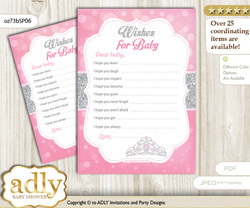 Princess Tiara Wishes for a Baby, Well Wishes for a Little Tiara Printable Card, Crown, Pink Grey