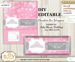 DIY Personalizable Princess Tiara Chocolate Bar Candy Wrapper Label for Princess  baby shower, birthday Pink Grey , editable wrappers