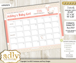 DIY Girl Lamb Baby Due Date Calendar, guess baby arrival date game n
