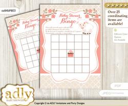 Printable Coral Lamb Bingo Game Printable Card for Baby Girl Shower DIY grey, Coral, Sheep