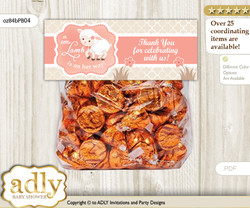 Printable Girl Lamb Treat or Goodie bag Toppers for Baby Girl Shower or Birthday DIY Coral, Sheep