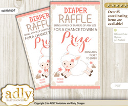 Girl Lamb Diaper Raffle Printable Tickets for Baby Shower, Coral, Sheep