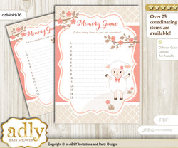 Girl Lamb Memory Game Card for Baby Shower, Printable Guess Card, Coral, Sheep