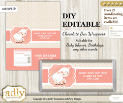 DIY Personalizable Girl Lamb Chocolate Bar Candy Wrapper Label for Girl  baby shower, birthday Coral , editable wrappers