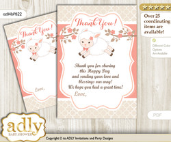Girl  Lamb Thank you Cards for a Baby Girl Shower or Birthday DIY Coral, Sheep