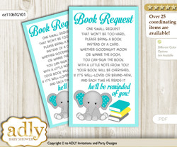 Request a Book Instead of a Card for Boy Elephant Baby Shower or Birthday, Printable Book DIY Tickets, Grey, Mint Yellow