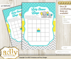 Printable Mint Yellow Elephant Bingo Game Printable Card for Baby Boy Shower DIY grey, Mint Yellow, Grey