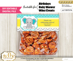 DIY Text Editable Boy Elephant Goodie  Treat Bag Toppers, Favor Bag Digital File, print at home