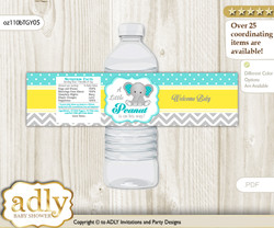 Boy Elephant Water Bottle Wrappers, Labels for a Elephant  Baby Shower, Mint Yellow, Grey