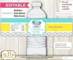 DIY Text Editable Boy Elephant Water Bottle Label, Personalizable Wrapper Digital File, print at home for any event