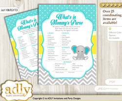 Boy Elephant What is in Mommy's Purse, Baby Shower Purse Game Printable Card , Mint Yellow,  Grey