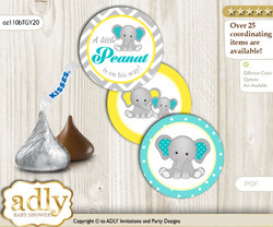 Printable  Boy Elephant Candy Kisses for Baby Boy Shower DIY Mint Yellow , Grey