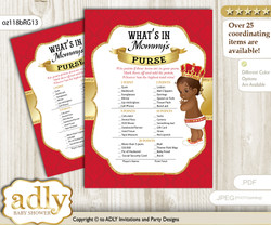 African Prince What is in Mommy's Purse, Baby Shower Purse Game Printable Card , Red gold,  Royal