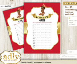 African Prince Memory Game Card for Baby Shower, Printable Guess Card, Red gold, Royal