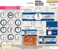 DIY Text Editable African Prince Baby Shower, Birthday digital package, kit-cupcake, goodie bag toppers, water labels, chocolate bar wrappers mn