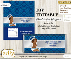 DIY Personalizable African Prince Chocolate Bar Candy Wrapper Label for African  baby shower, birthday Silver blue , editable wrappers