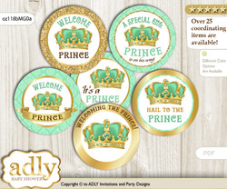 Baby Shower King Prince Cupcake Toppers Printable File for Little King and Mommy-to-be, favor tags, circle toppers, Crown, Mint gold