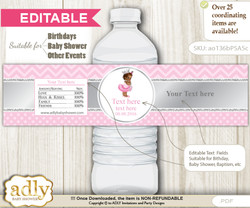 DIY Text Editable African Princess Water Bottle Label, Personalizable Wrapper Digital File, print at home for any event  h