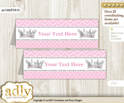 DIY Text Editable Printable African Princess Buffet Tags or Food Tent Labels  for a Baby Shower or Birthday , Pink Silver, Royal