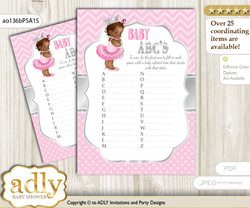 African Princess Baby ABC's Game, guess Animals Printable Card for Baby Princess Shower DIY – Royal