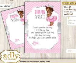 African  Princess Thank you Cards for a Baby African Shower or Birthday DIY Pink Silver, Royal