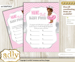 African Princess Guess Baby Food Game or Name That Baby Food Game for a Baby Shower, Pink Silver Royal
