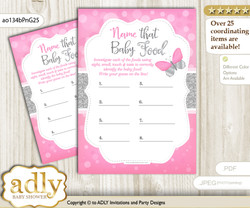 Girl Butterfly Guess Baby Food Game or Name That Baby Food Game for a Baby Shower, Pink Grey Summer