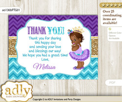 African Princess Thank you Printable Card with Name Personalization for Baby Shower or Birthday Party  v