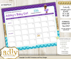 DIY African Princess Baby Due Date Calendar, guess baby arrival date game  v