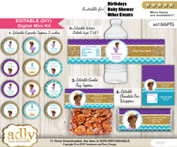 DIY Text Editable African Princess Baby Shower, Birthday digital package, kit-cupcake, goodie bag toppers, water labels, chocolate bar wrappers v