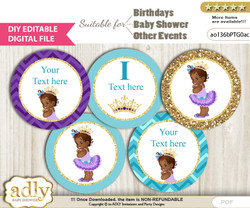 DIY Text Editable African Princess Cupcake Toppers Digital File, print at home, suitable for birthday, baby shower, baptism  v