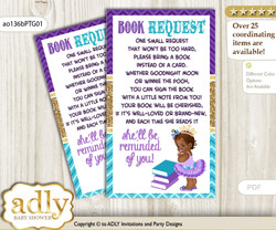Request a Book Instead of a Card for African Princess Baby Shower or Birthday, Printable Book DIY Tickets, Royal, Teal Gold