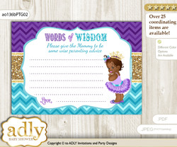 Teal Gold African Princess Words of Wisdom or an Advice Printable Card for Baby Shower, Royal