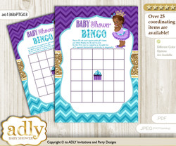 Printable Teal Gold Princess Bingo Game Printable Card for Baby African Shower DIY grey, Teal Gold, Royal