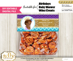 DIY Text Editable African Princess Goodie  Treat Bag Toppers, Favor Bag Digital File, print at home   v