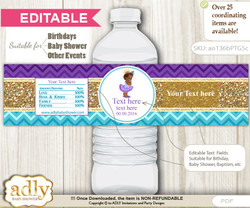 DIY Text Editable African Princess Water Bottle Label, Personalizable Wrapper Digital File, print at home for any event   v