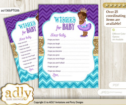 African Princess Wishes for a Baby, Well Wishes for a Little Princess Printable Card, Royal, Teal Gold
