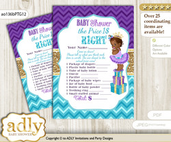 Printable African Princess Price is Right Game Card for Baby Princess Shower, Teal Gold, Royal