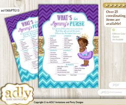 African Princess What is in Mommy's Purse, Baby Shower Purse Game Printable Card , Teal Gold,  Royal