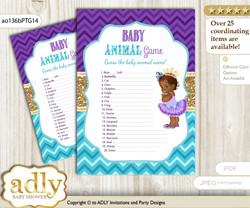 Printable African Princess Baby Animal Game, Guess Names of Baby Animals Printable for Baby Princess Shower, Teal Gold, Royal