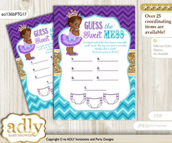 African Princess Dirty Diaper Game or Guess Sweet Mess Game for a Baby Shower Teal Gold, Royal