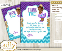 African  Princess Thank you Cards for a Baby African Shower or Birthday DIY Teal Gold, Royal