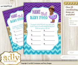 African Princess Guess Baby Food Game or Name That Baby Food Game for a Baby Shower, Teal Gold Royal