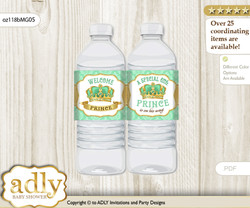 King Prince Water Bottle Wrappers, Labels for a Prince  Baby Shower, Mint gold, Crown