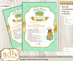 Printable King Prince Price is Right Game Card for Baby Prince Shower, Mint gold, Crown