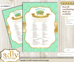 King Prince What is in Mommy's Purse, Baby Shower Purse Game Printable Card , Mint gold,  Crown