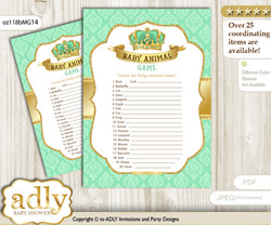 Printable King Prince Baby Animal Game, Guess Names of Baby Animals Printable for Baby Prince Shower, Mint gold, Crown