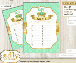 King Prince Baby ABC's Game, guess Animals Printable Card for Baby Prince Shower DIY – Crown